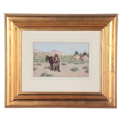 "John Hauser Gouache Painting ""Preparing for the Daily Ride,"" 1895"