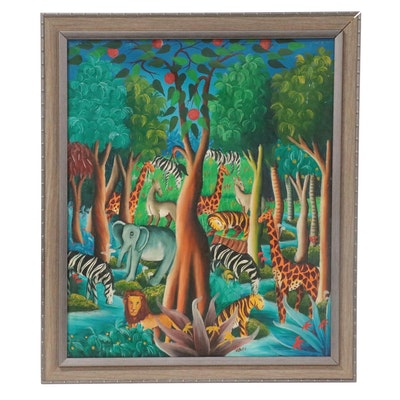 Folk Art Oil Painting of Tree and Animals