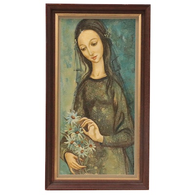 Enamel Painting of Woman and Flowers, Mid-20th Century