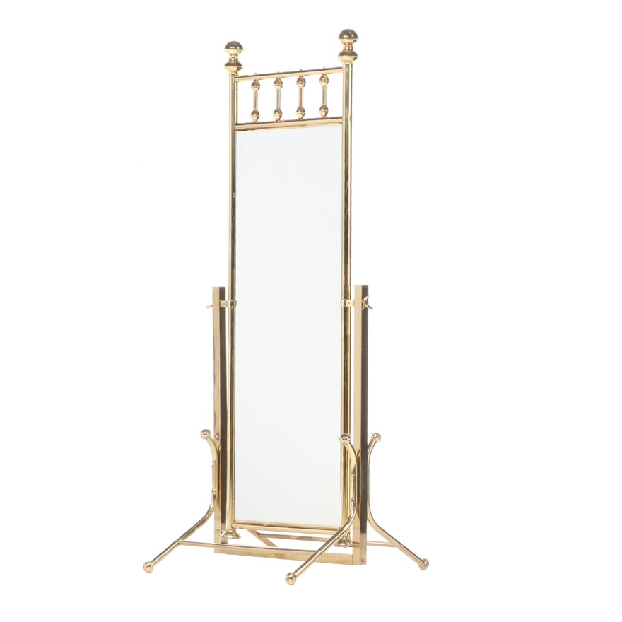Brass Double-Sided Cheval Mirror, Late 20th Century