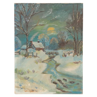Landscape Oil Painting of Nighttime Winter Scene, Mid-Late 20th Century