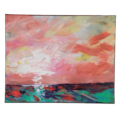 "Claire McElveen Acrylic Painting ""Fire Sky,"" 2021"