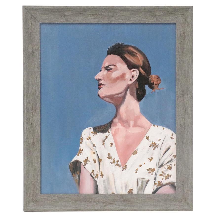 Oil Portrait Painting of Woman, 21st Century