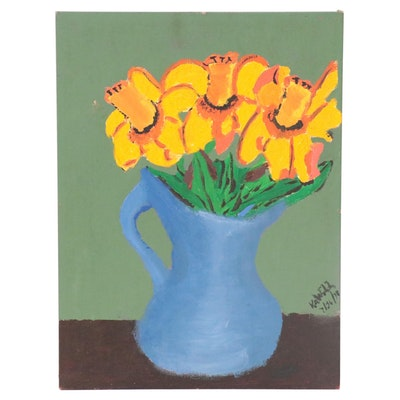 Still Life Oil Painting of Flowers, 1978