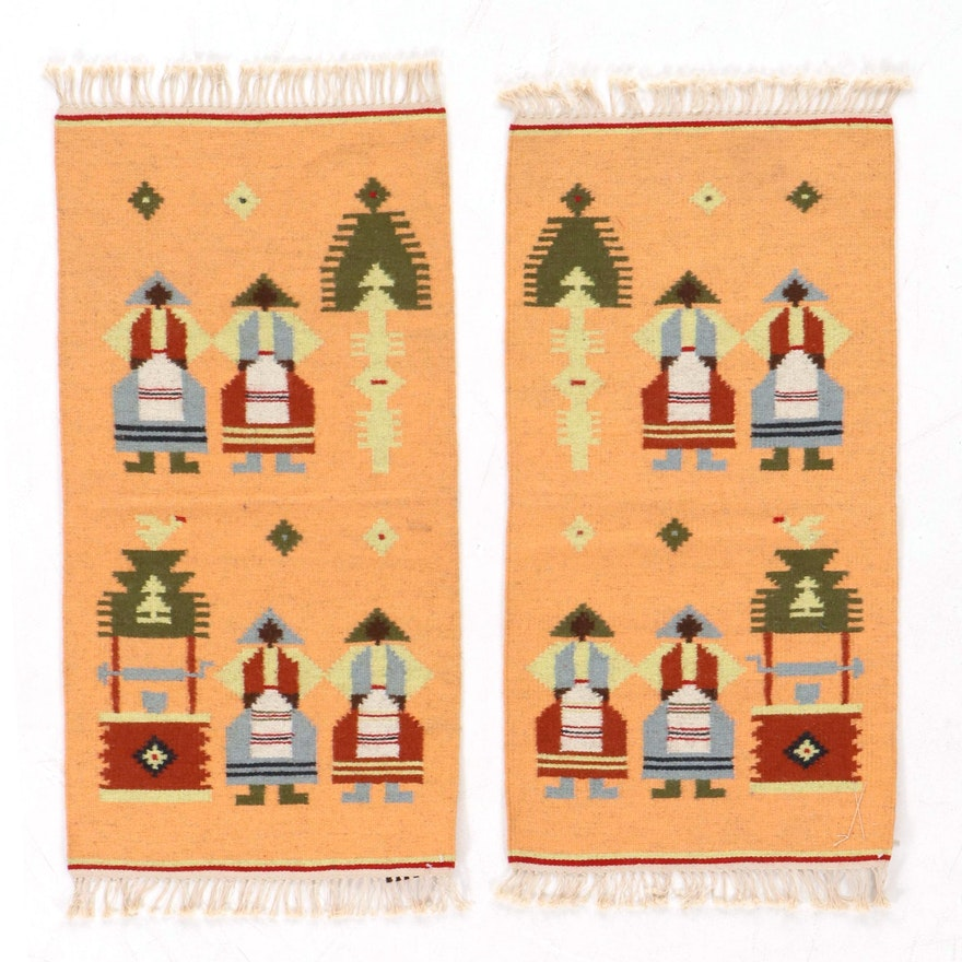 Two Handwoven Moldavian SSR Kilim Pictorial Rugs, 1970s