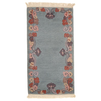 2'5 x 4'11 Hand-Knotted Indo-Tibetan Carved Pile Rug, 2000s