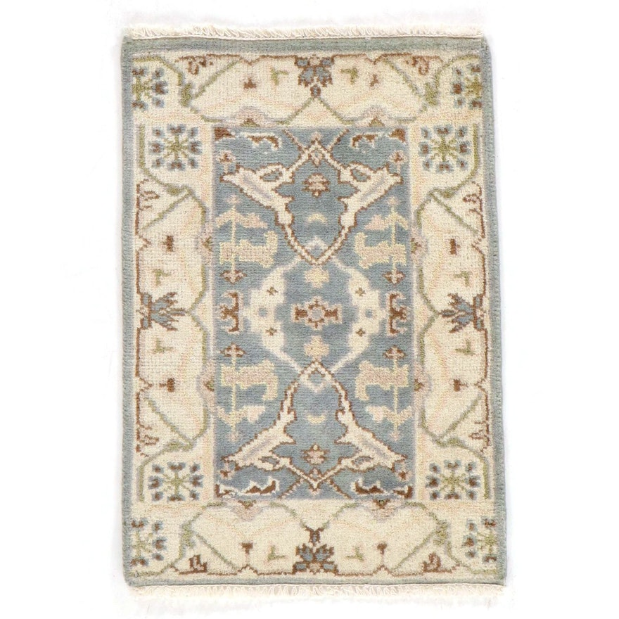 2'1 x 3'2 Hand-Knotted Indo-Turkish Oushak Rug, 2010s