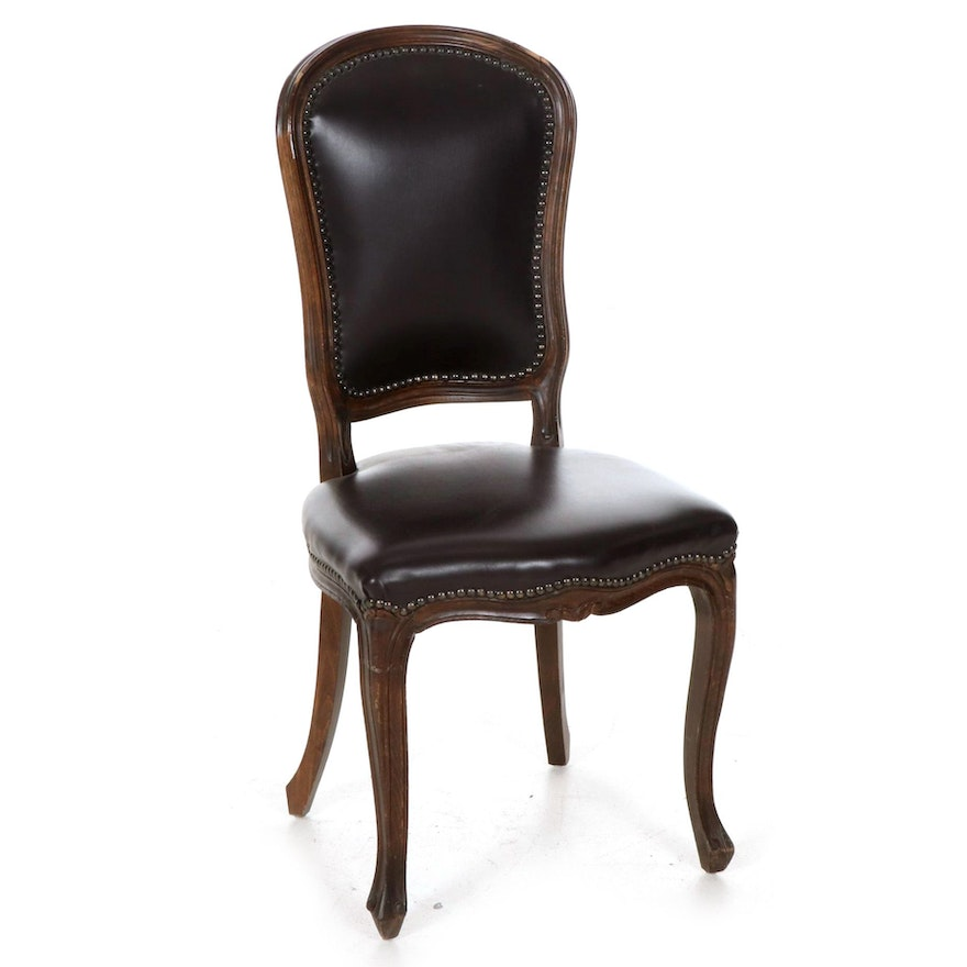 Late Victorian Brown Leather Upholstered Walnut Side Chair