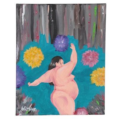"NXRTH 471 Acrylic Painting ""Flowers,"" 21st Century"
