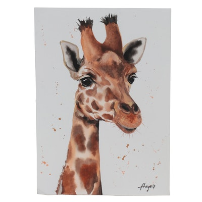 Anne Gorywine Watercolor Painting of Giraffe, 2021