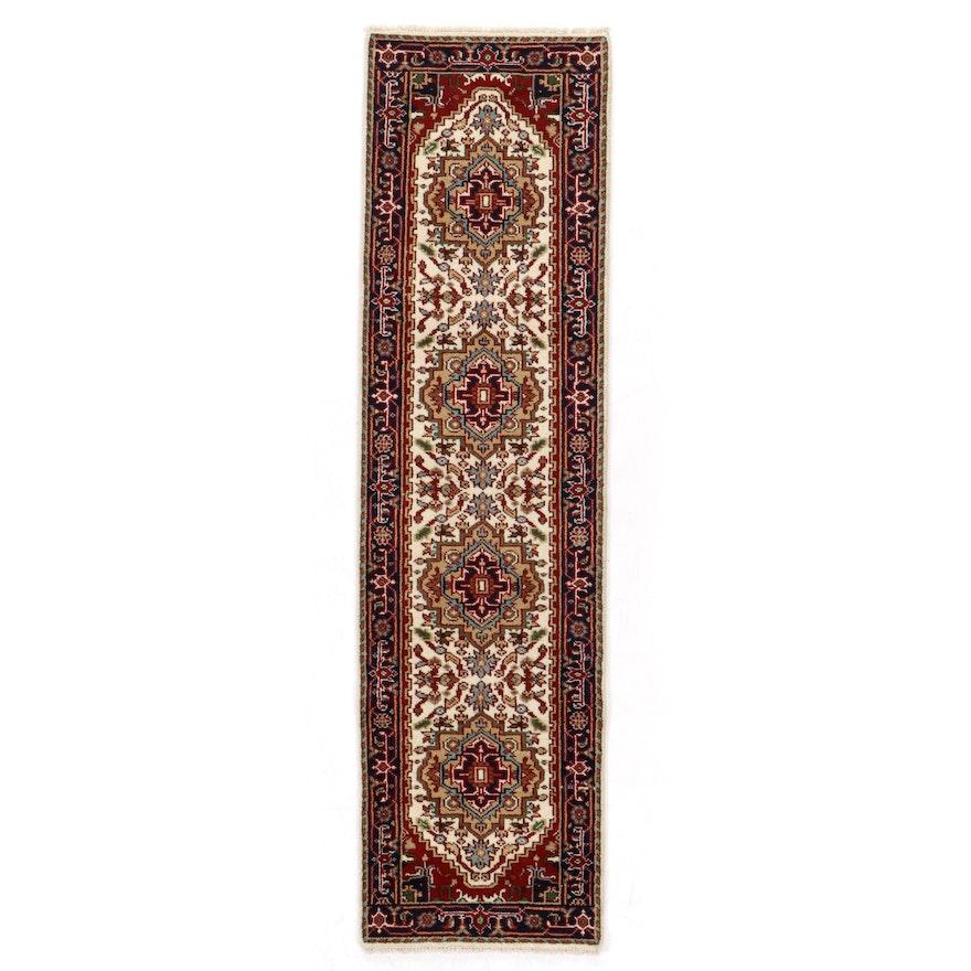 2'8 x 9'11 Hand-Knotted Indo-Persian Heriz Serapi Carpet Runner, 2010s