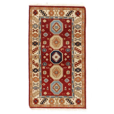 2'11 x 5'6 Hand-Knotted Indo-Caucasian Kazak Rug, 2010s