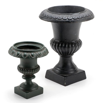 Neoclassical Style Cast Metal and Iron Garden Urns