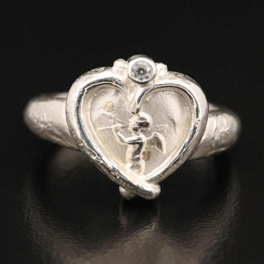 SeidenGang Sterling Cubic Zirconia Heart Cameo Ring