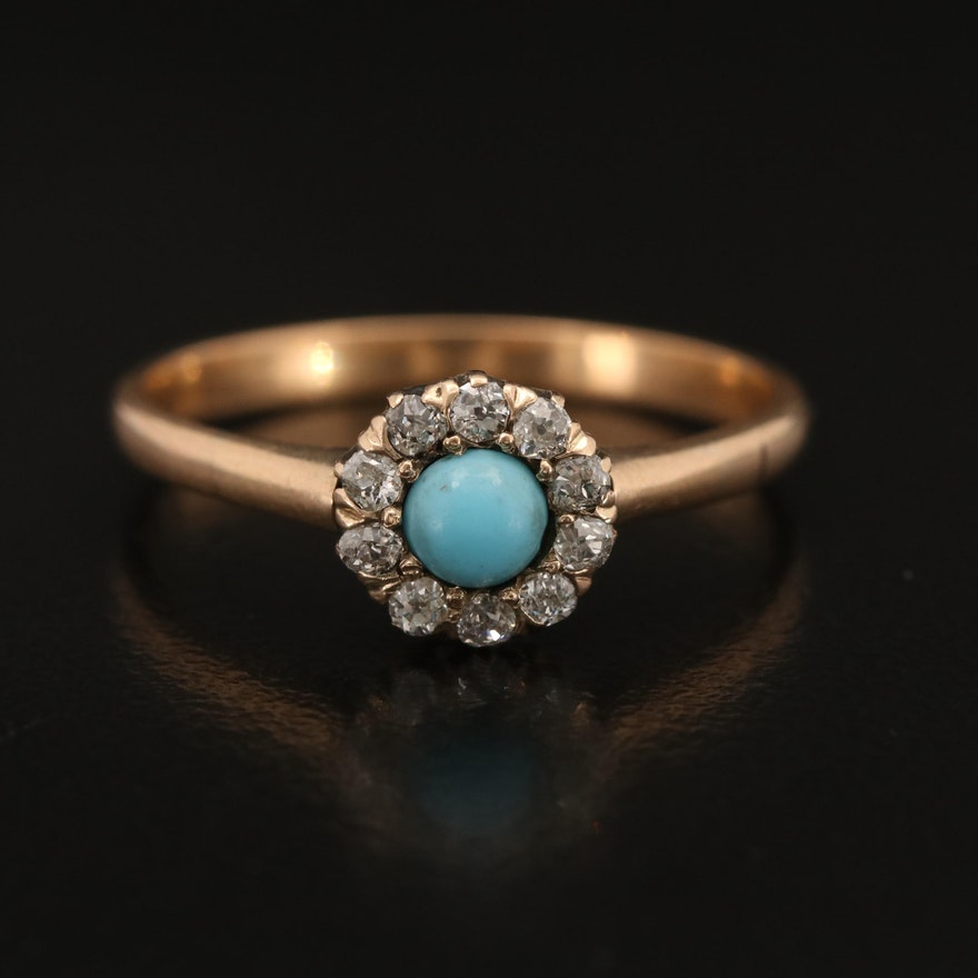 Vintage 10K Glass Cabochon and Diamond Ring