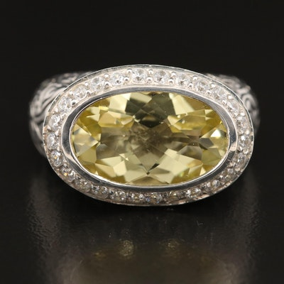 SeidenGang Sterling Citrine and Cubic Zirconia Ring with Leaf Detail