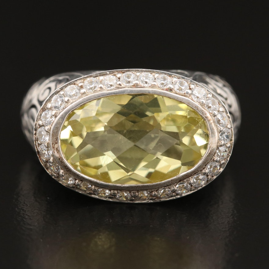 SeidenGang Sterling Citrine and Cubic Zirconia Ring with Leaf Details