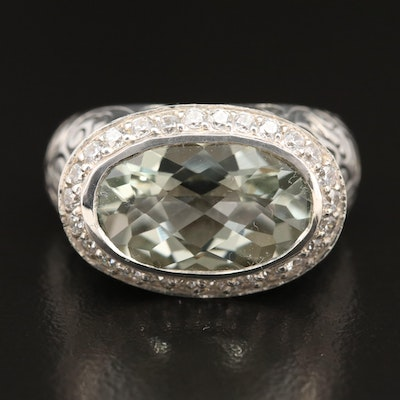 SeidenGang Sterling Prasiolite and Cubic Zirconia Ring