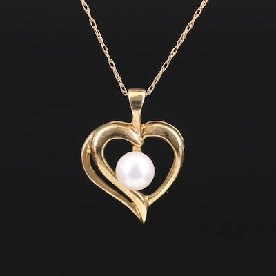 10K Pearl Heart Necklace