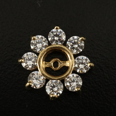 14K Cubic Zirconia Halo Earring Jacket