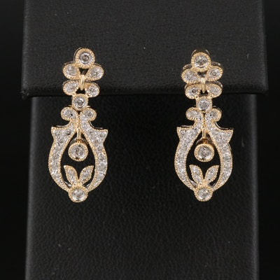 14K Diamond Foliate Earrings
