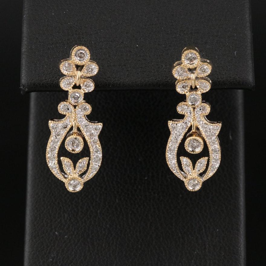 14K Diamond Foliate Earrings