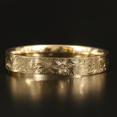 14K Scrollwork Engraved Hinged Bangle