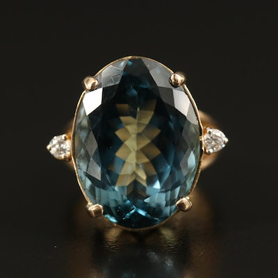 14K 17.71 CT London Blue Topaz and Diamond Ring