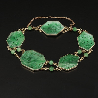 Vintage Asian 14K Carved Jadeite Bracelet