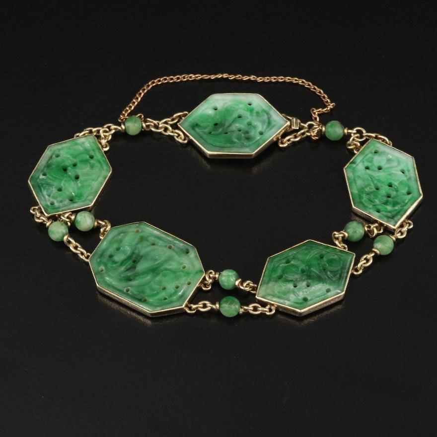 Vintage Asian 14K Carved Jadeite Bracelet