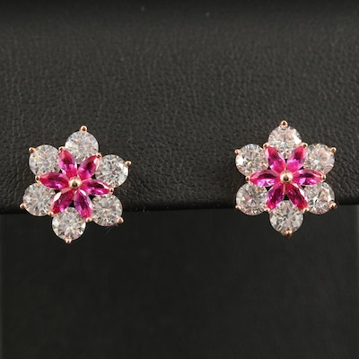 Sterling Flower Stud Earrings with Cubic Zirconia and Ruby