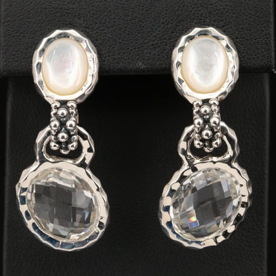 Michael Dawkins Sterling Quartz and Mother of Pearl Drop Earrings