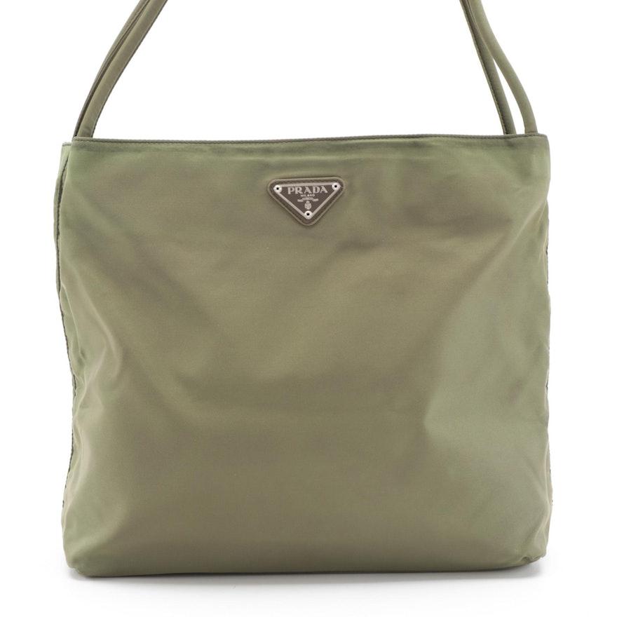 Prada Multi-Compartment Shoulder Bag in Green Tessuto Nylon