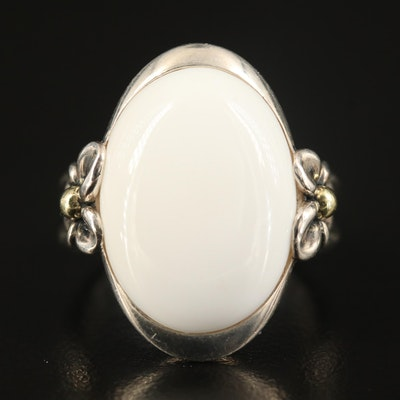 Ann King Sterling White Agate Ring with 18K Accents