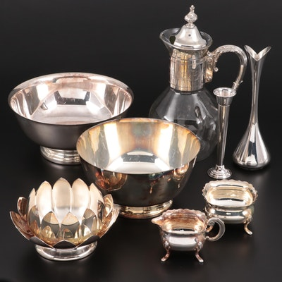 Danish Modern Bud Vase with Gorham and Other Silver Plate Tableware