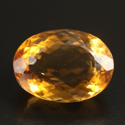 Loose 32.75 CT Oval Faceted Citrine