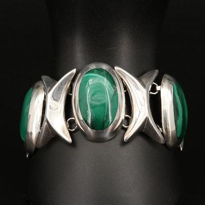 Mexican  Sterling Silver Malachite XOXO Link Bracelet
