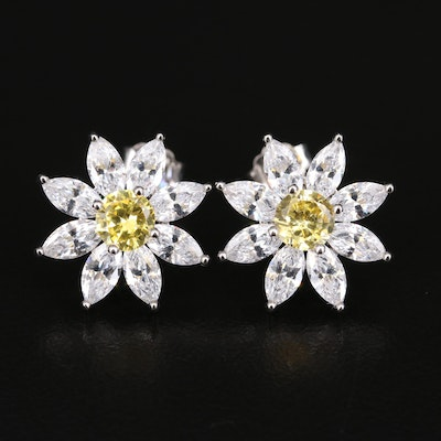 Sterling Cubic Zirconia Flower Earrings