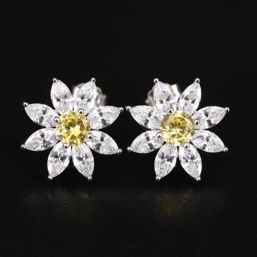 Sterling Cubic Zirconia Flower Earrings