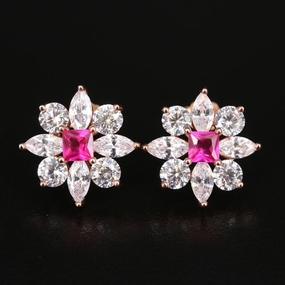 Sterling Ruby and Cubic Zirconia Flower Earrings