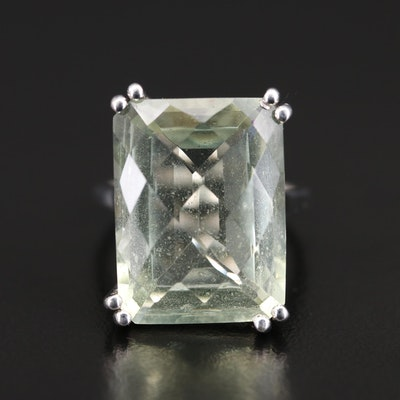 Sterling Prasiolite Statement Ring