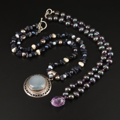 Necklaces Including Sterling Chalcedony, Pearl and Amethyst