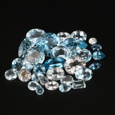 Loose 47.55 CTW Mixed Faceted Aquamarine and Topaz