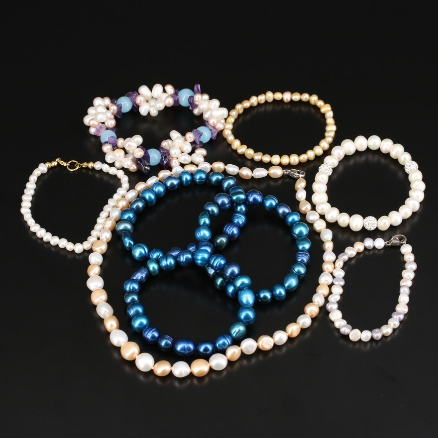 Pearl Necklace and Bracelets Including Sterling, Amethyst and Rhinestones