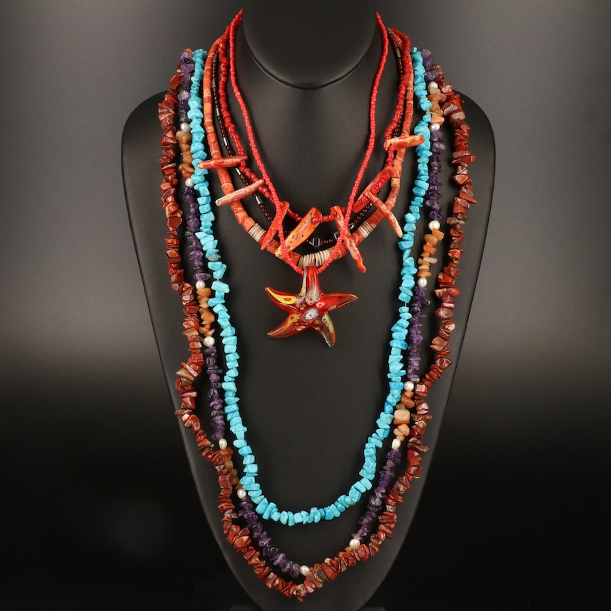 Necklaces Including Red Jasper, Coral, Spiny Oyster and Additional Gemstones