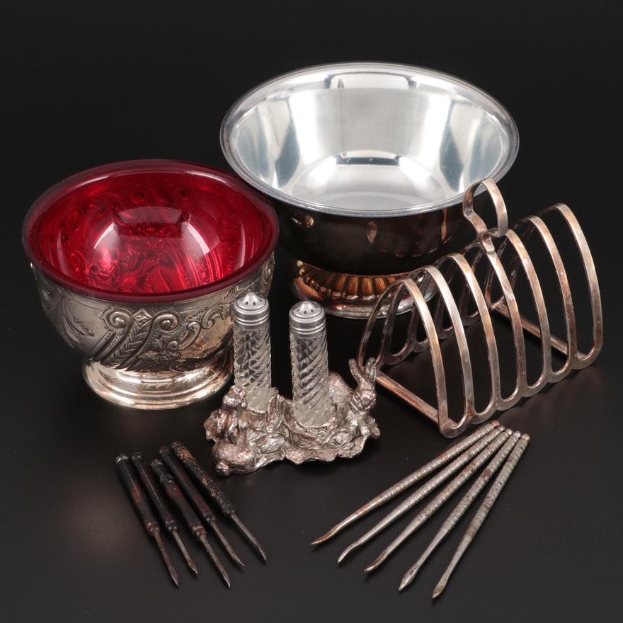 Arthur Court Rabbit Shakers, Toast Rack and Other Silver Plate Table Accessories