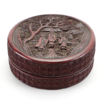 Chinese Carved Cinnabar Style Lidded Box