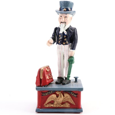 "Contemporary ""Uncle Sam"" Cast Iron Mechanical Coin Bank"