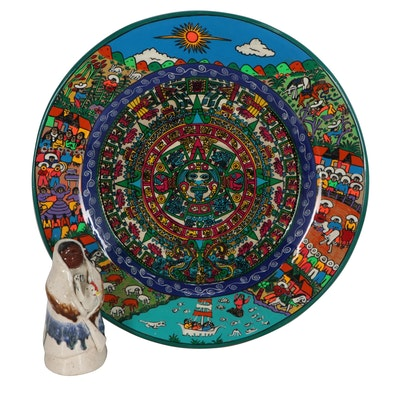 Aztec Inspired Plate with Figural Sculpture