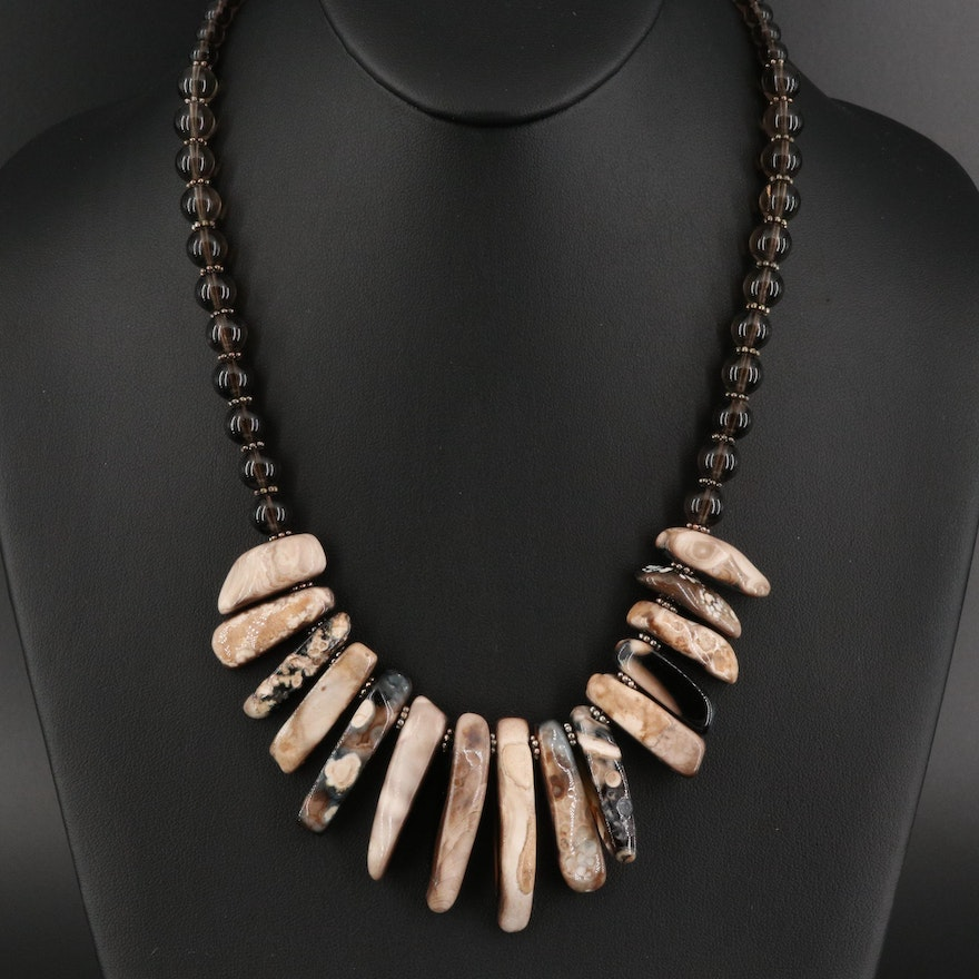 Fossilized Coral and Smoky Quartz Necklace with Sterling Clasp